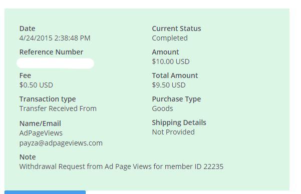 6ª Pago AdPageViews $ 10.00 Payza - Pago Instantaneo RPjmS