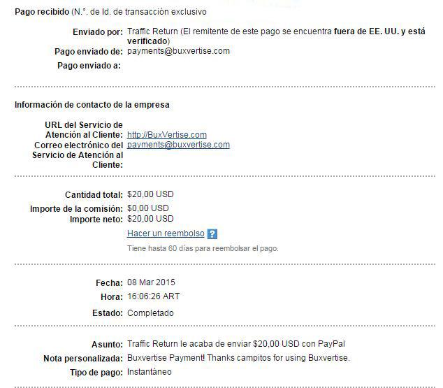 2ª Pago Buxvertise $ 20.00 Paypal UV8dB