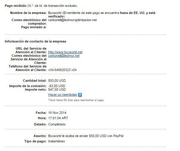 16ª Pago Buxworld $ 50 Paypal Vyd9k
