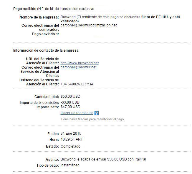 26ª Pago Buxworld $ 50 Paypal VywYc