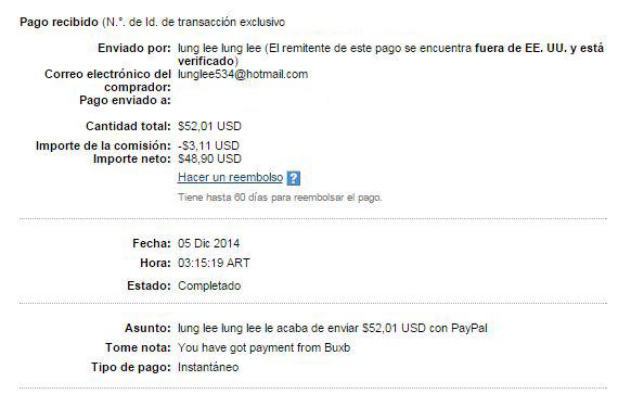 13° Pago Buxbery $52.01 Paypal X3eDB