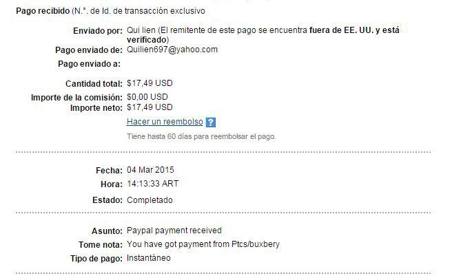 14ª Pago Buxbery $17.49 Paypal XhQjV