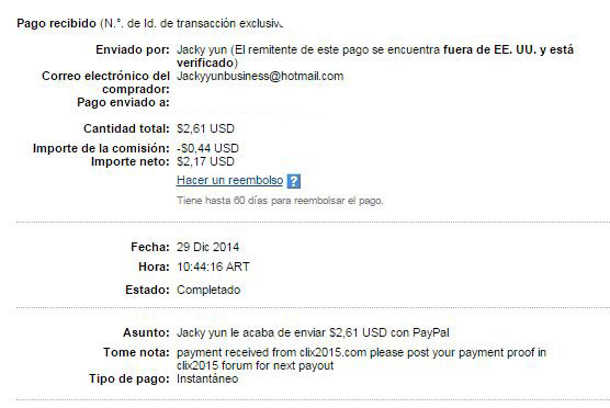 1° Pago Clix2015 $ 2.61 Paypal YhNPX