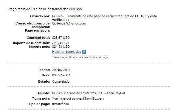 11° Pago Buxbery $26.67 Paypal ZxMHV