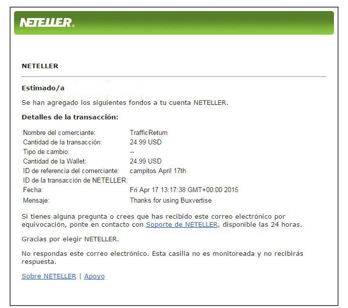 13ª Pago Buxvertise $ 24.99 Neteller C5v9q
