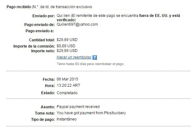 15ª Pago Buxbery $29.89 Paypal Dk0aL