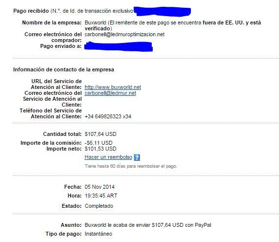 3° Pago bonos Buxworld $ 107.64 E3PXr