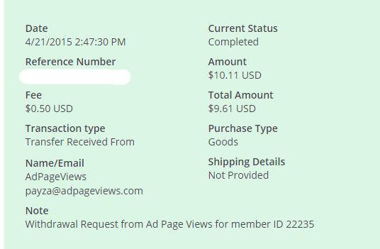 5ª Pago AdPageViews $ 10.11 Payza - Pago Instantaneo H9V7