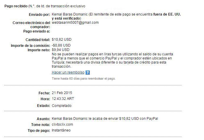 1° Pago Clixtoclix $ 10.82 Paypal JXq7Z