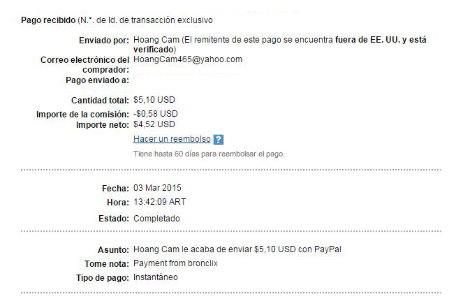 1ª Pago Bronclix $ 5.10 Paypal MPTpy