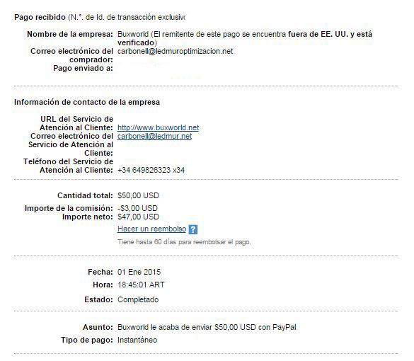 21ª Pago Buxworld $ 50 Paypal MjH5