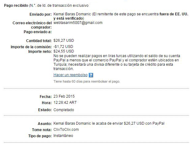 2° Pago Clixtoclix $ 26.27 Paypal N0hZ7