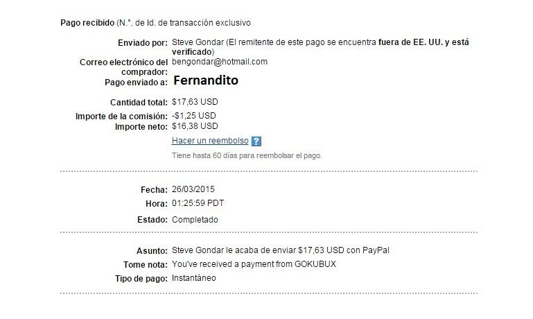 1ª Pago Gokubux $ 17.63 Paypal RFK7