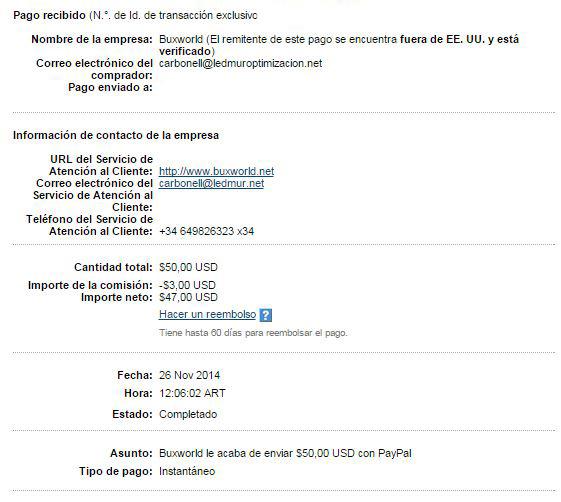 17ª Pago Buxworld $ 50 Paypal SIxRG