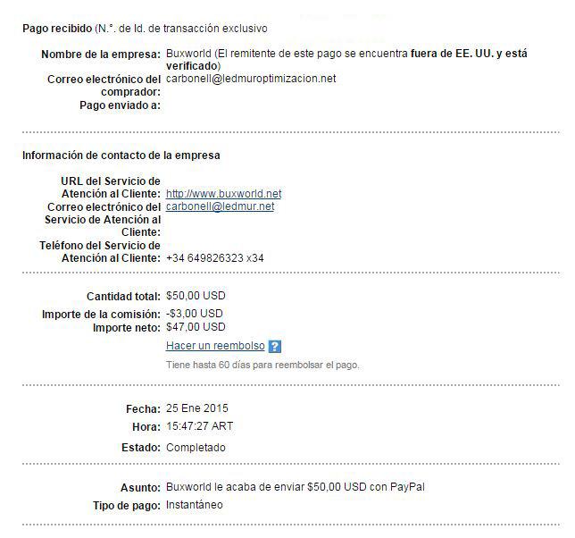 25ª Pago Buxworld $ 50 Paypal WzIj2