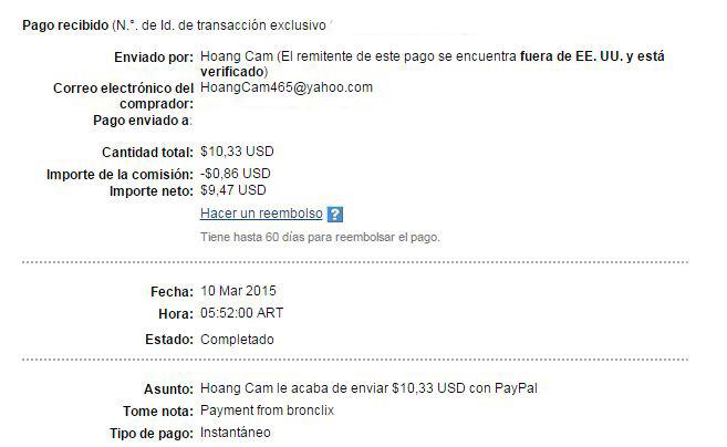 2ª Pago Bronclix $ 10.33 Paypal XARj3