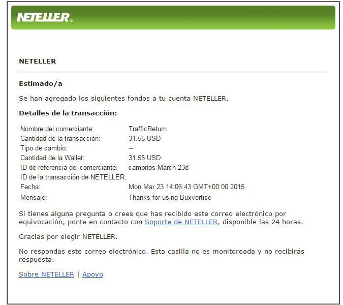 6ª Pago Buxvertise $ 31.55 Neteller ZPxYB