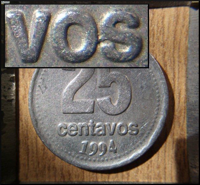 Argentina, 25 centavos, 1994 (Error). Drkcoin_25c_error_1