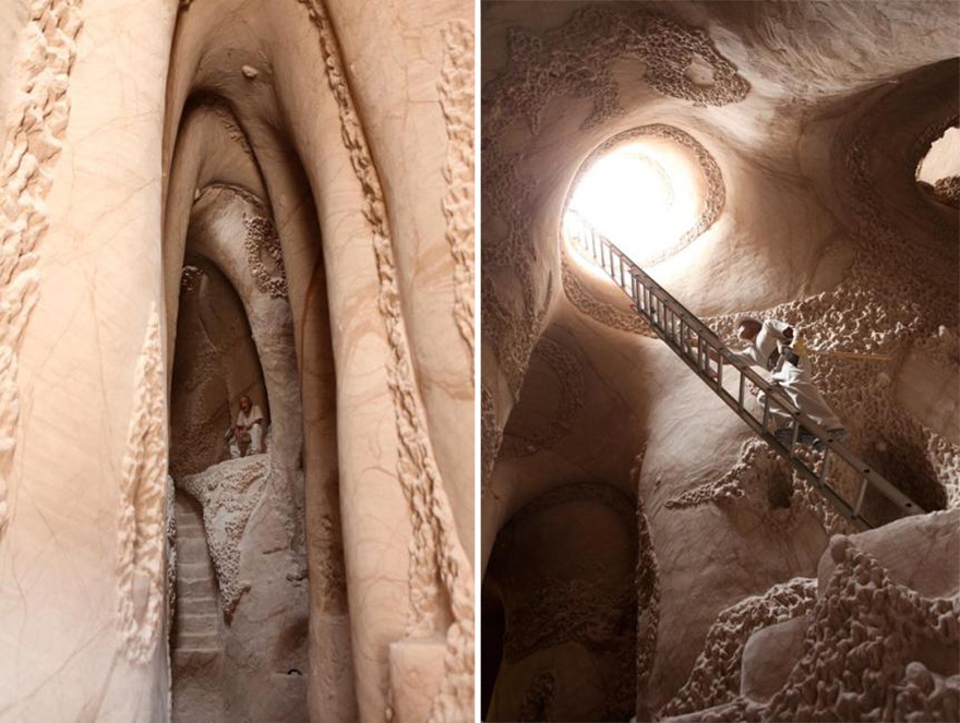 Artist Spends 10 Years Carving A Giant Cave Alone With His Dog Carved-cave-141