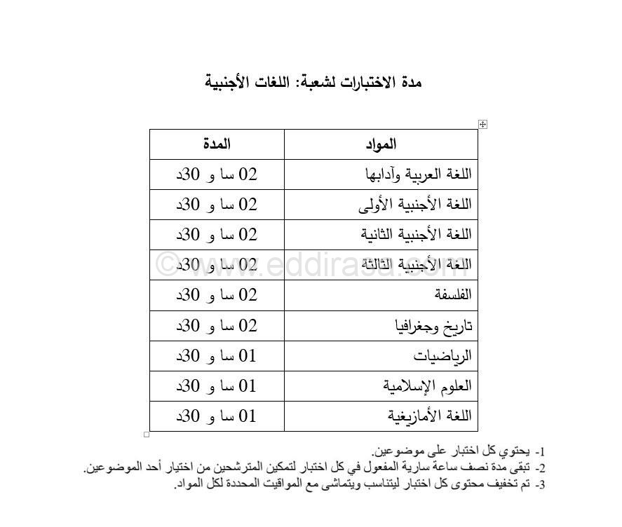 مدة الاختبارات  لكل الشعب بكلوريا 2017 Programme-bac-2017-langue-2