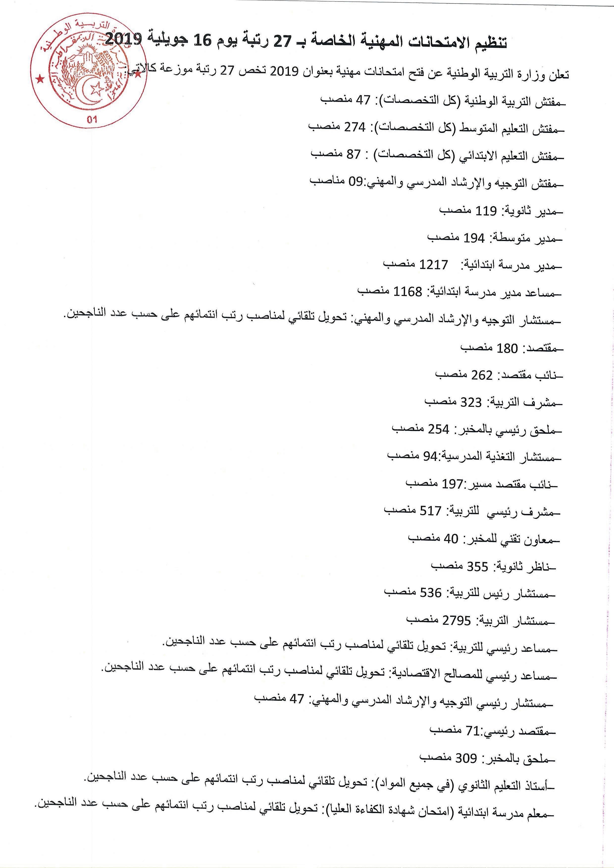 تنظيم الامتحانات المهنية الخاصة بـ 27 رتبة يوم 16 جويلية 2019 Concours-prom1-20.06.2019