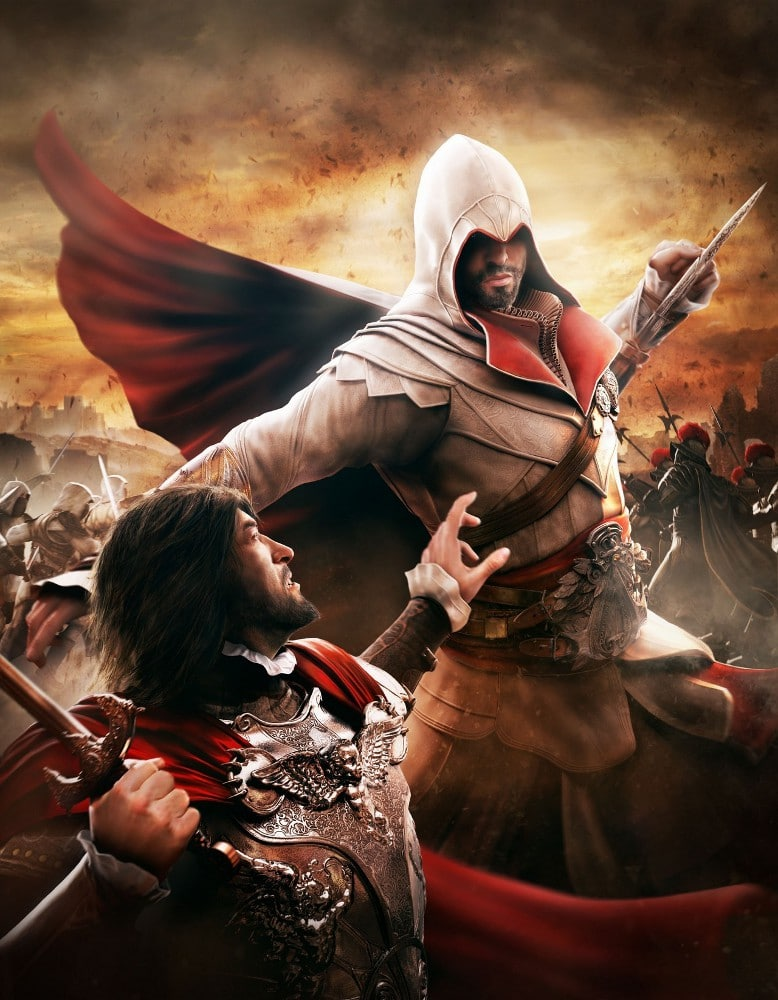 Assassin's Creed : Brotherhood  Assassins-Creed-Brotherhood-Artwork-Ezio-Auditore-C%C3%A9sar-Borgia