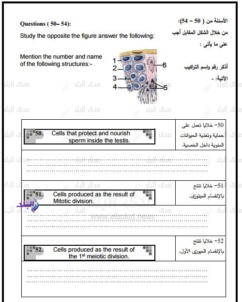 نموذج امتحان الوزارة – بوكليت أحياء  للغات ثانوى عام2017 43