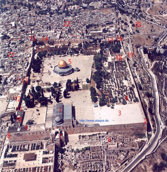صورة مفصلة للمسجد الاقصى تصوير جوي للمسجد الاقصى المبارك من الاعلى في تاريخ 7/5/1999م - التصوير من الجهة الجنوبية  Aqsa