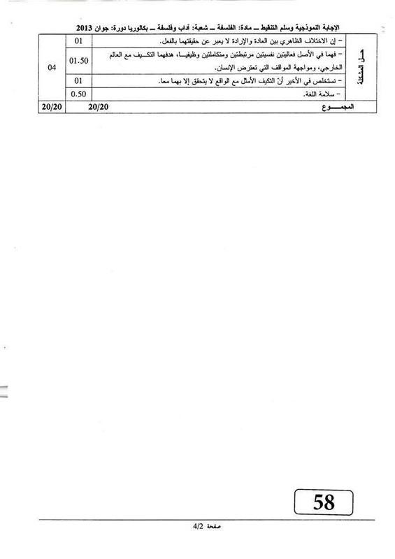 تصحيح الفلسفة بكالوريا 2013 آداب و فلسفة 6803480_orig