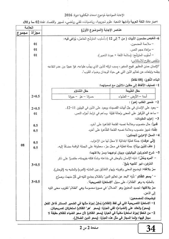 شهادة البكالوريا 2016 المواضيع و التصحيحات شعبة الرياضيات Page-1_orig