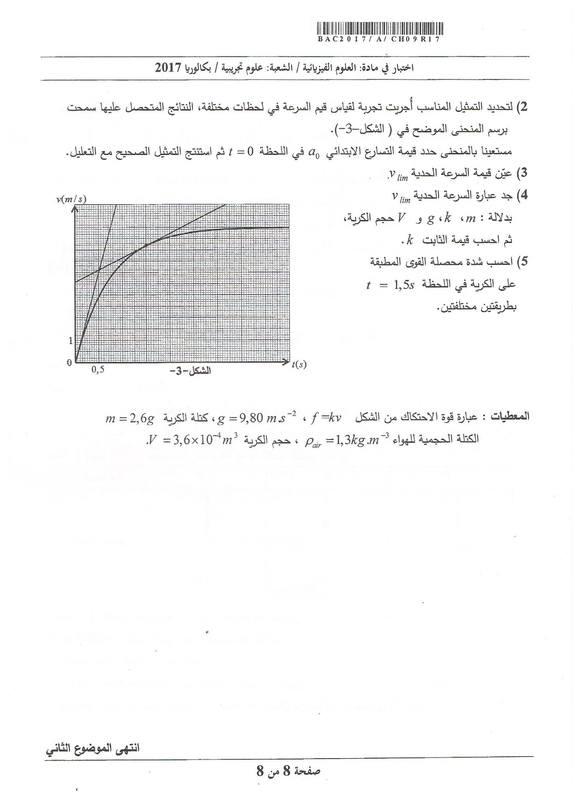 شهادة البكالوريا 2016 المواضيع و التصحيحات شعبة الرياضيات Physics-se-bac2017-page-8_orig