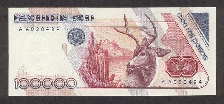 Los billetes de más alta denominación que circulan en el mundo MexicoP94a-100000Pesos-1988-donatedth_b