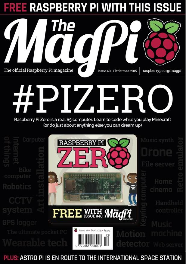 Cuando un ordenador viene de regalo con una revista MagPi-cover