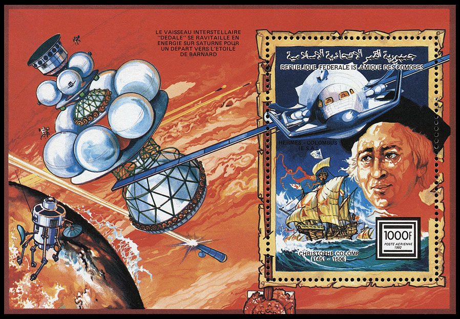AstroPhilathélie - Page 8 Comores_1992_columb_mi_block_372a