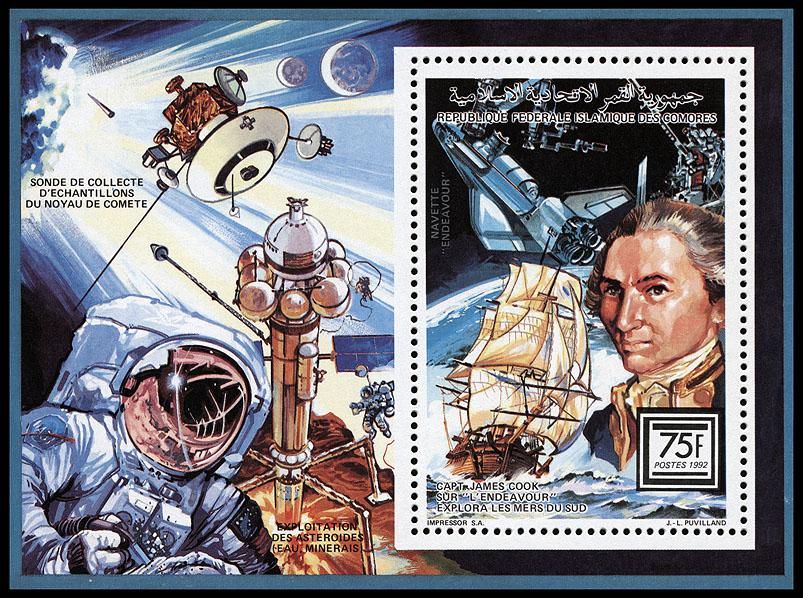 AstroPhilathélie - Page 8 Comores_1992_sea_space_mi_block_373a