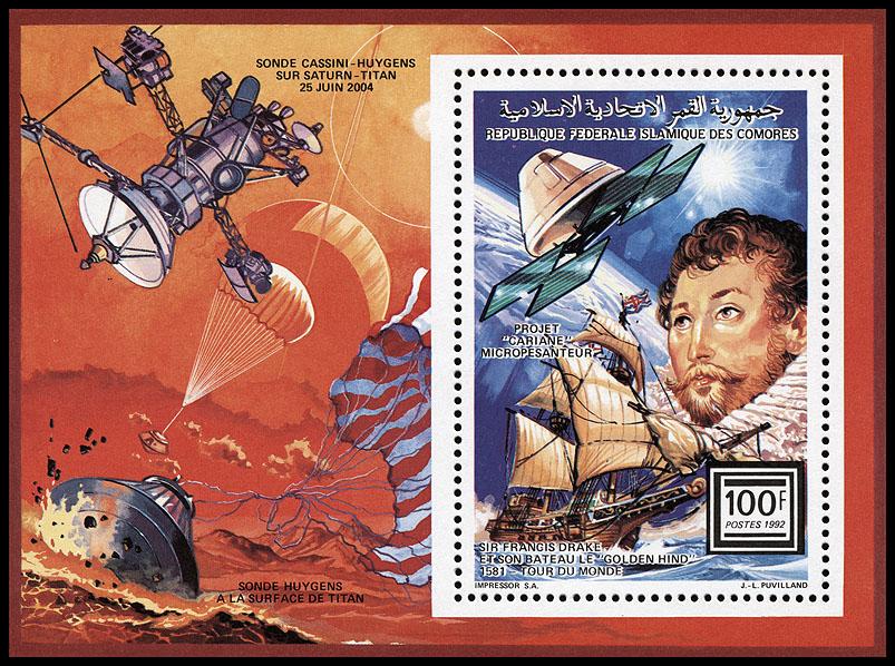 AstroPhilathélie - Page 8 Comores_1992_sea_space_mi_block_374a