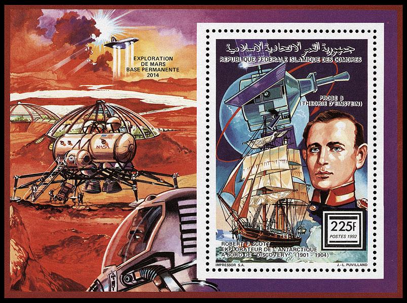 AstroPhilathélie - Page 8 Comores_1992_sea_space_mi_block_376a