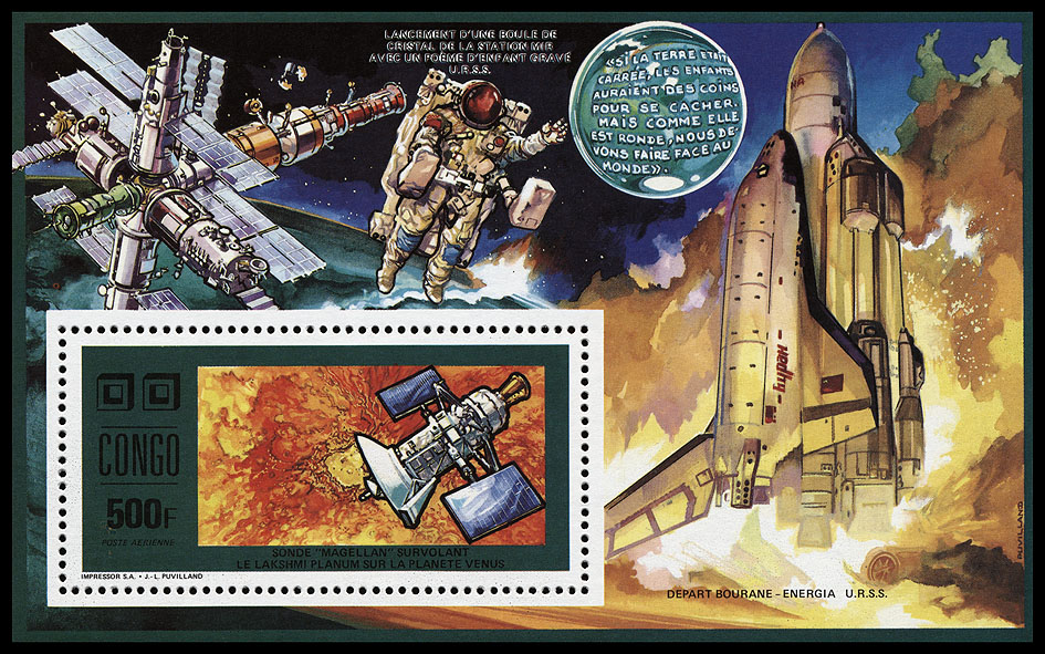 AstroPhilathélie - Page 8 Congo_1991_space_mi_block_74a