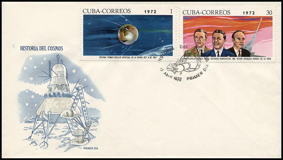 Astrophilatélie soviétique et pays de l'Est - Page 6 Cover_cuba_1972_1204_fdc_mi_1760_1766