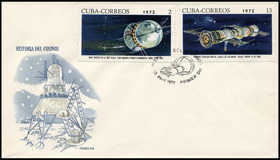 Astrophilatélie soviétique et pays de l'Est - Page 6 Cover_cuba_1972_1204_fdc_mi_1761_1765