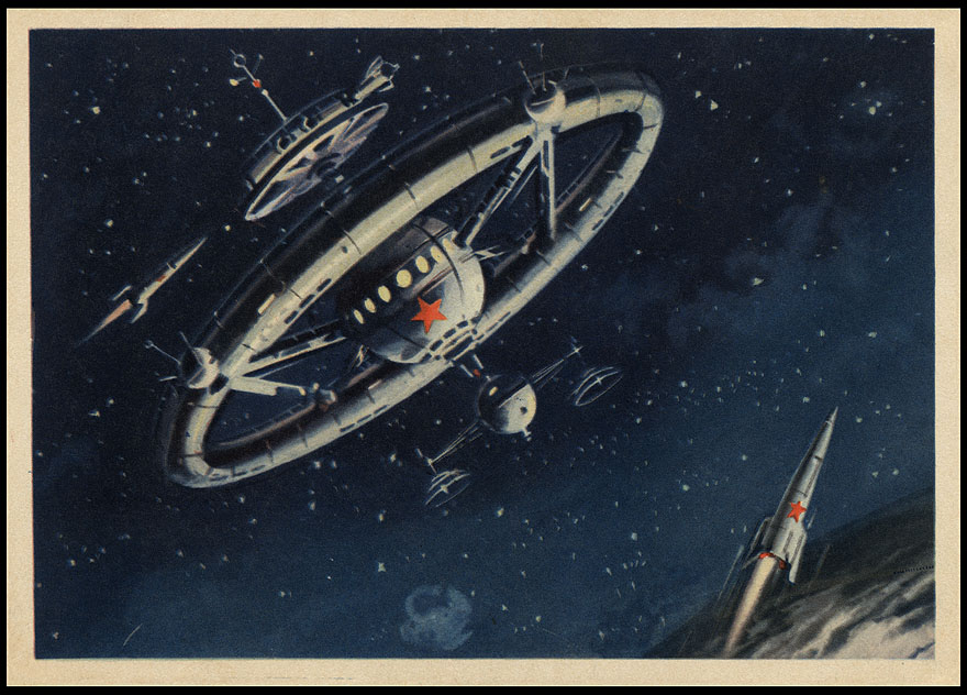 Astrophilatélie soviétique et pays de l'Est - Page 7 Postcard_ussr_1960_spacestation_nostamp