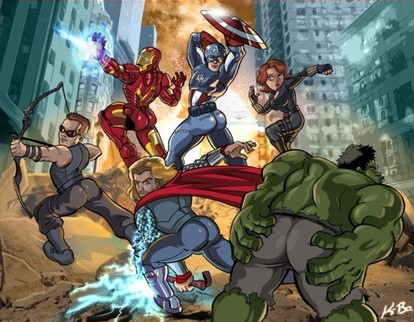 The Avengers : Iron-Man, Thor, Cap... - Page 2 Vengeurs-pose-bimbos