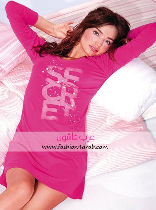 ملابس للنوم من ماركة فيكتوريا سيكيرت المحبوبة  263-575-The-Angel-Sleep-Tee-Hot-Pink