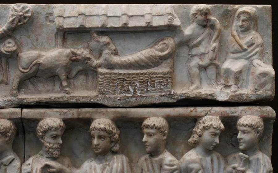 Natività, iconografia 3-Particolare-del-sarcofago-di-Adelfia-Siracusa-330-dopo-Cristo