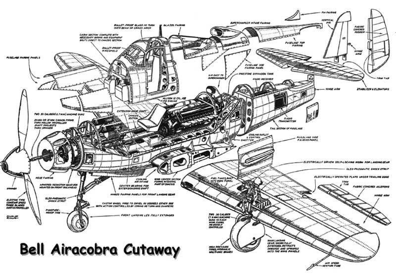 O BELL P-39 AIRACOBRA Bell-P-39-Airacobra-Cutaway