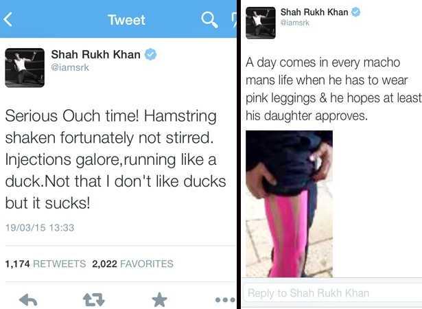 Shah Rukh Khan se lesiona y lo toma con Humor Srk_leg_2_1426770833_615x461