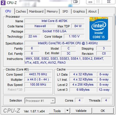 [DOSSIER] Overclocking d'un Intel core i5 4670K - 3° partie CPUZ-i5-4670k-4-4ghz