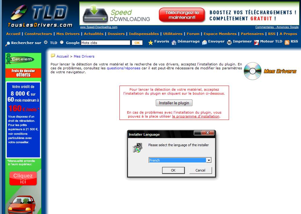Trouver les drivers de sa configuration Instal-plugin-tld