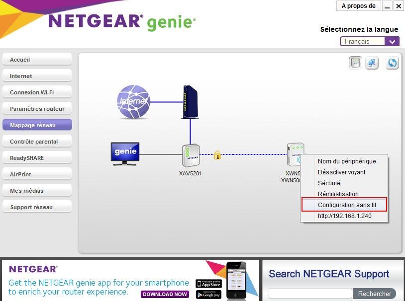 Interfaces kit CPL et répéteur WIFI Genie-3b