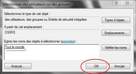 Partager dossiers ou partitions avec Windows 7 Droits12